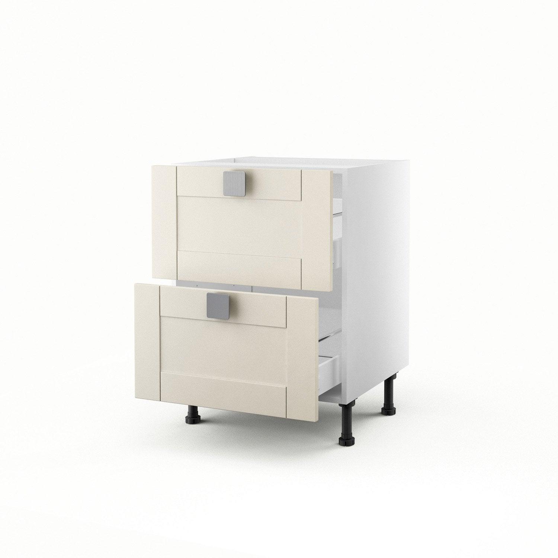 meuble de cuisine bas ivoire 2 tiroirs karrey h70xl60xp56 cm leroy merlin. Black Bedroom Furniture Sets. Home Design Ideas