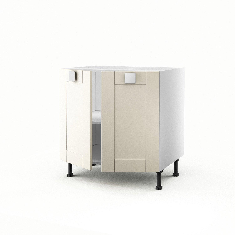Meuble de cuisine bas ivoire 2 portes karrey x x for Bas de porte leroy merlin