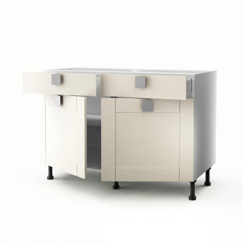 meuble de cuisine bas ivoire 2 portes 2 tiroirs karrey x x cm leroy merlin. Black Bedroom Furniture Sets. Home Design Ideas
