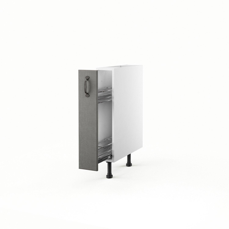 Meuble de cuisine bas gris 1 porte nuage x x p - Meuble cuisine 15 cm ...