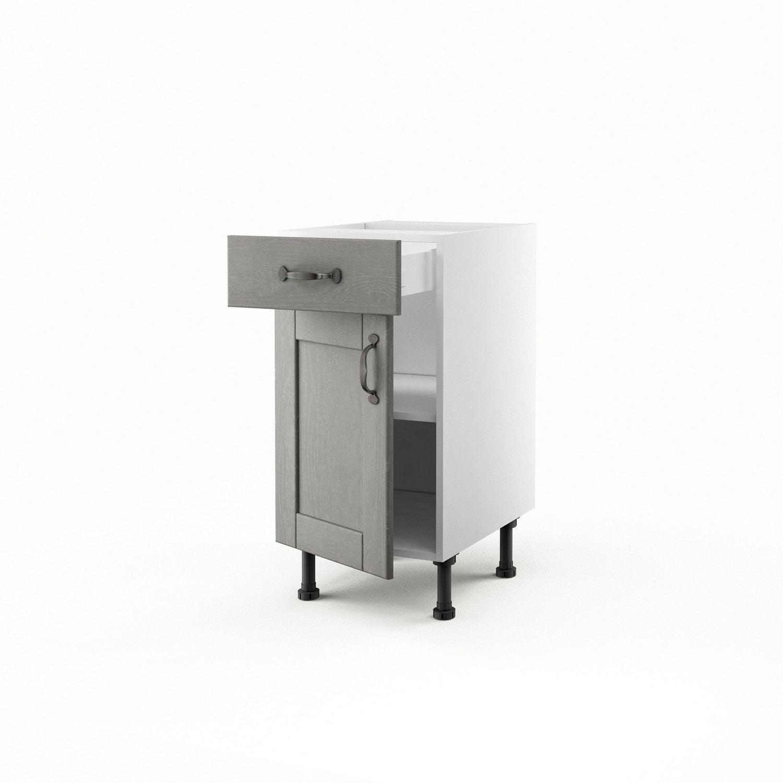 Meuble de cuisine bas gris 1 porte 1 tiroir nuage x for Bas de porte leroy merlin