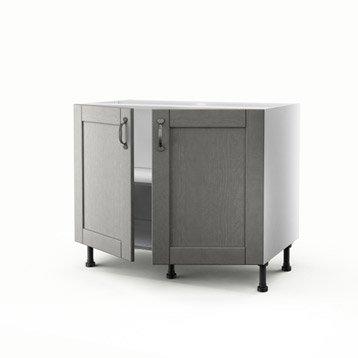 Meuble de cuisine bas gris 2 portes Nuage H.70 x l.100 x P.56 cm