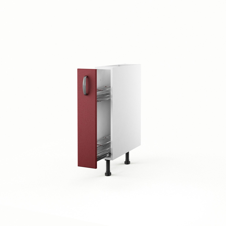 Meuble de cuisine bas rouge 1 porte rubis h70xl15xp56 cm - Range bouteilles leroy merlin ...