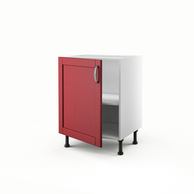 Meuble de cuisine bas rouge 1 porte rubis x x p for Bas de porte leroy merlin