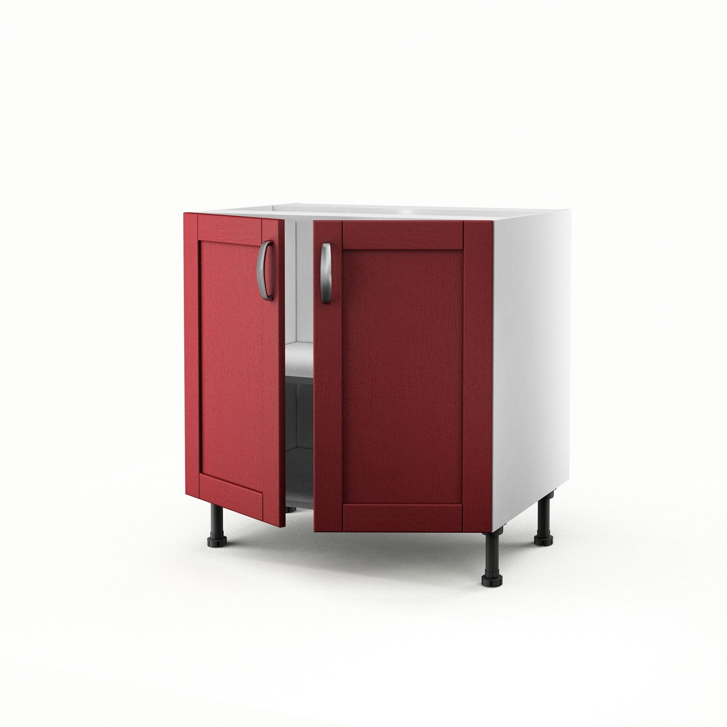 Meuble de cuisine bas rouge 2 portes rubis h70xl80xp56 cm for Bas de porte leroy merlin