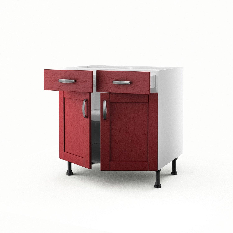 Meuble de cuisine bas rouge 2 portes + 2 tiroirs Rubis H70 x l80 x P