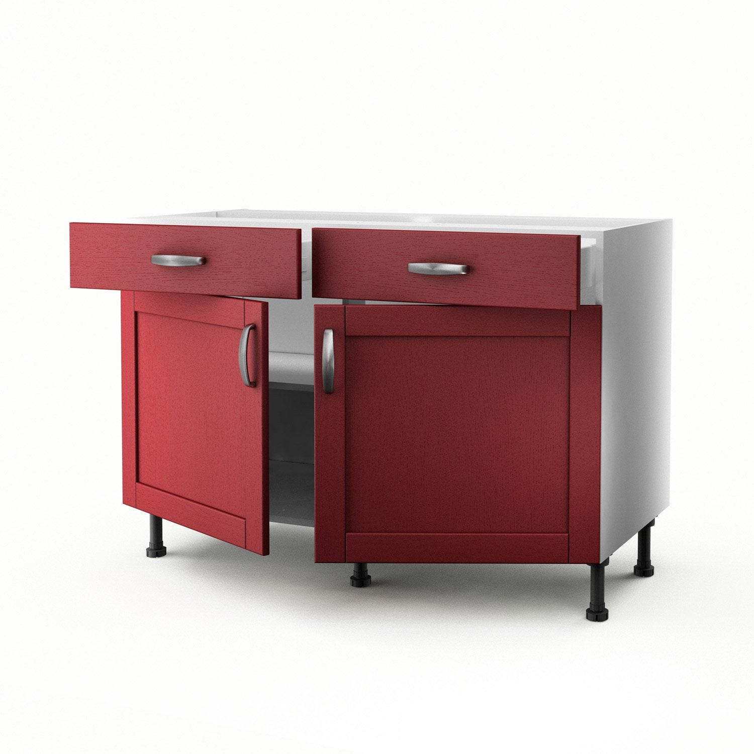 Meuble de cuisine bas rouge 2 portes 2 tiroirs rubis for Portes elements cuisine leroy merlin