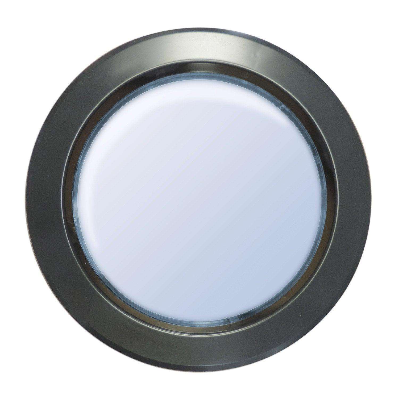 Hublot de porte en polystyr ne choc rond gris m tal 33 cm for Hublot porte salle de bain