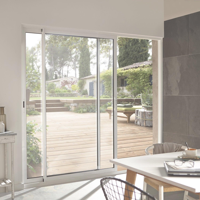 baie vitr e aluminium blanc x cm leroy merlin. Black Bedroom Furniture Sets. Home Design Ideas