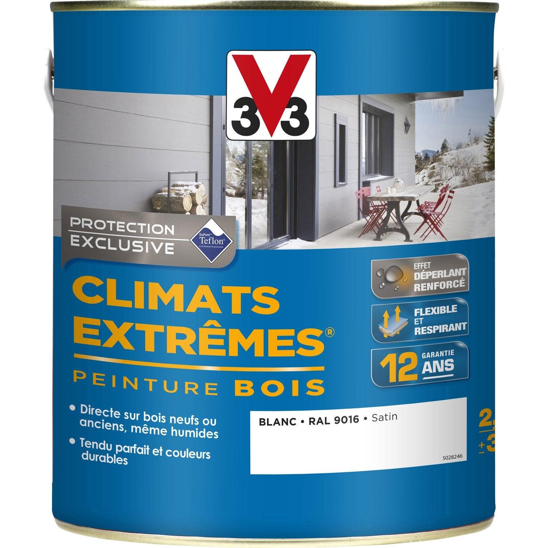 Peinture bois ext rieur climats extr mes v33 satin blanc 2 5 l leroy merlin - Peinture radiateur leroy merlin ...