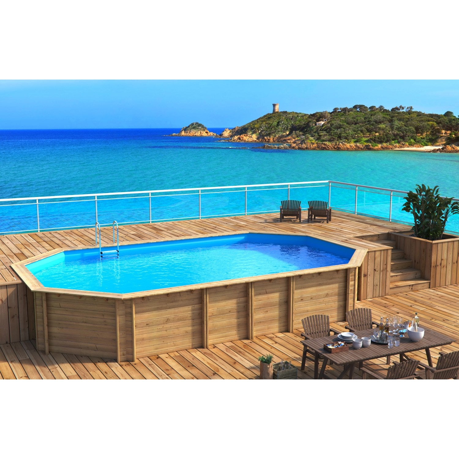 Piscine hors sol bois weva proswell by procopi l x l for Amenagement piscine hors sol terrasse