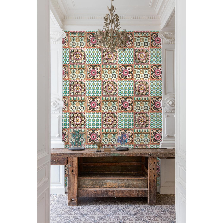 Papier Peint Intisse : Papier peint intissé morrocan mosaik orange leroy merlin