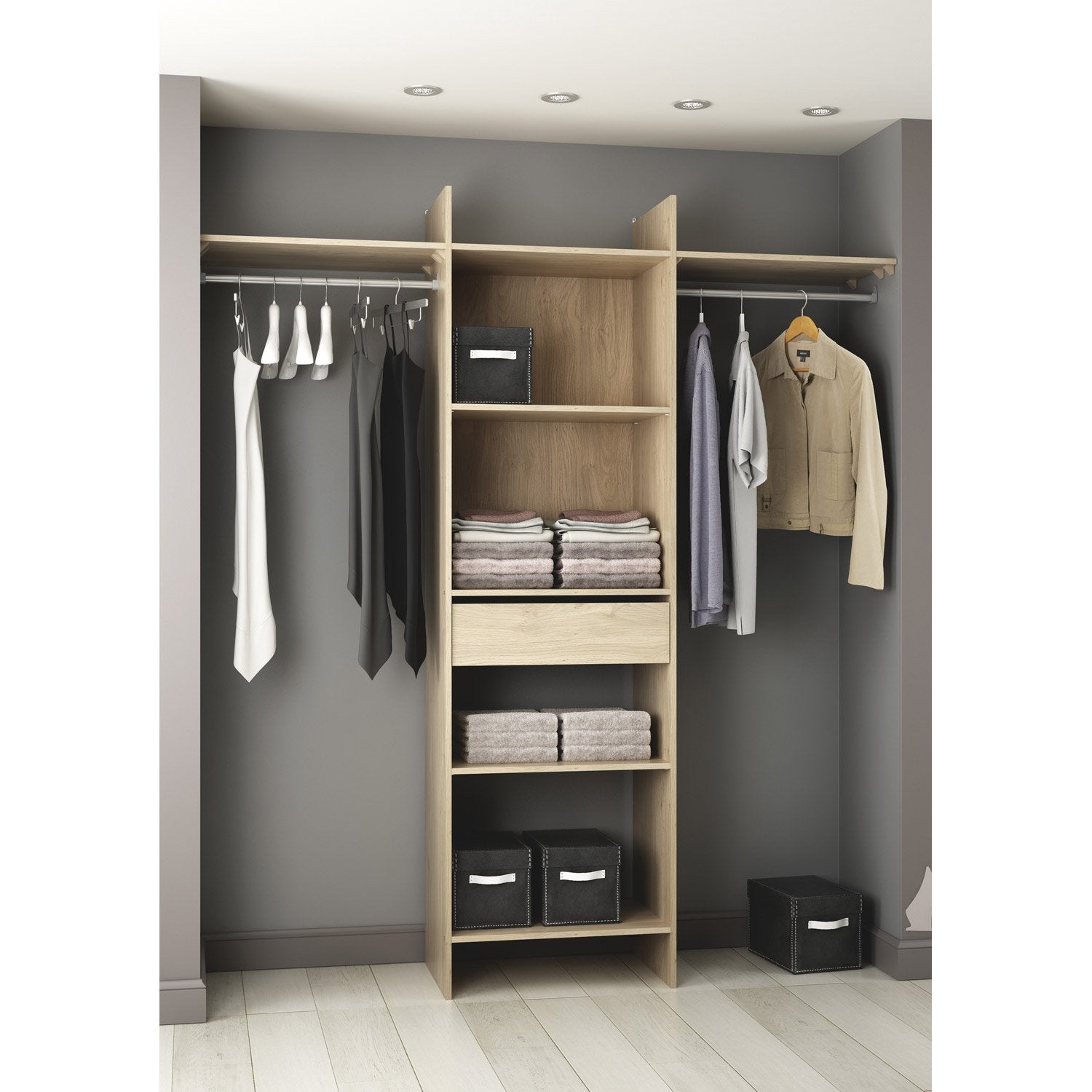 kit dressing colonne penderie tiroirs modul 39 star d cor ch ne l180xh203xp40cm leroy merlin. Black Bedroom Furniture Sets. Home Design Ideas