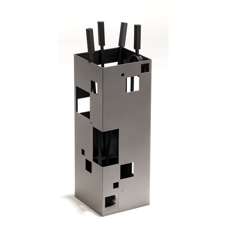 Serviteur en acier atelier dix neuf city gris noir 4 accessoires leroy merlin - Serviteur poele a bois ...