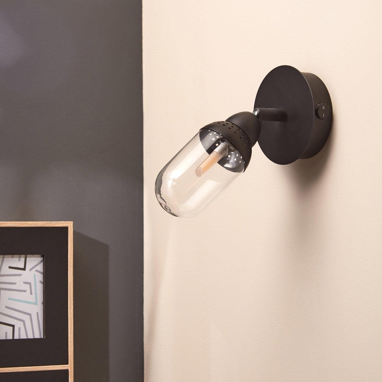 verrerie pour spot composer industriel basile noir inspire leroy merlin. Black Bedroom Furniture Sets. Home Design Ideas