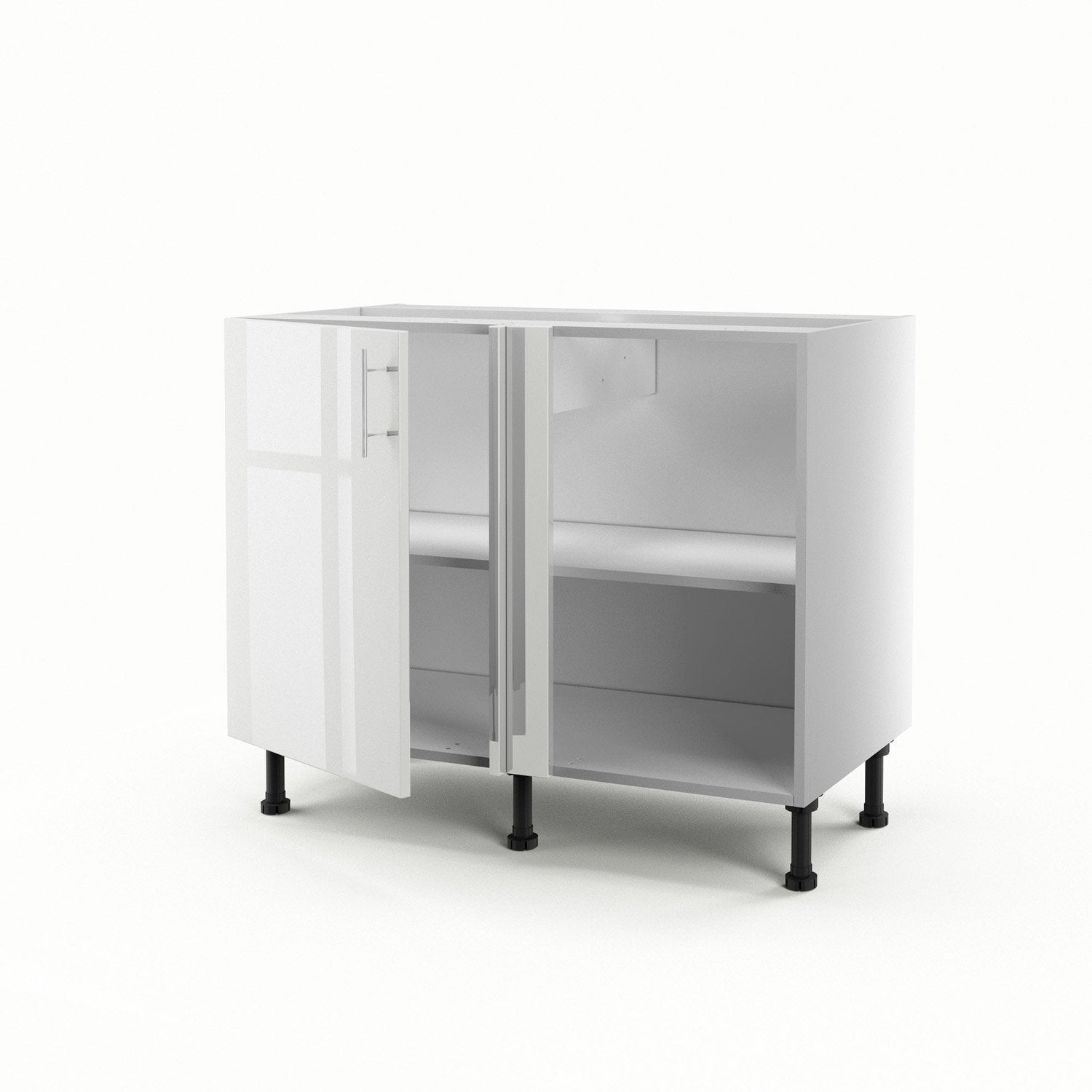 meuble de cuisine bas d 39 angle blanc 1 porte rio h70xl100xp56 cm leroy merlin. Black Bedroom Furniture Sets. Home Design Ideas