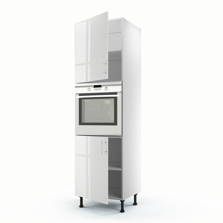 Meuble de cuisine colonne blanc 2 portes rio x - Meuble de cuisine blanc ...