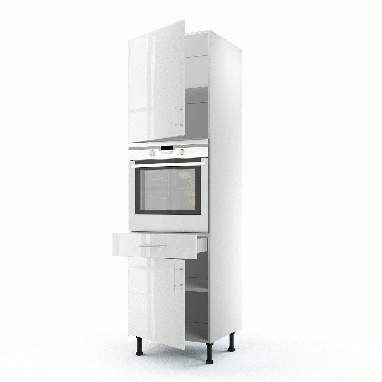 Meuble de cuisine colonne blanc 2 portes 1 tiroir rio h - Colonne cuisine leroy merlin ...