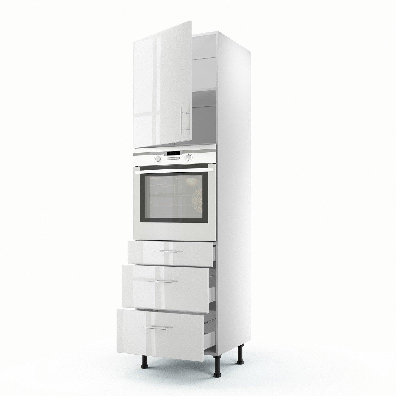 meuble de cuisine colonne blanc 1 porte 3 tiroirs rio h. Black Bedroom Furniture Sets. Home Design Ideas