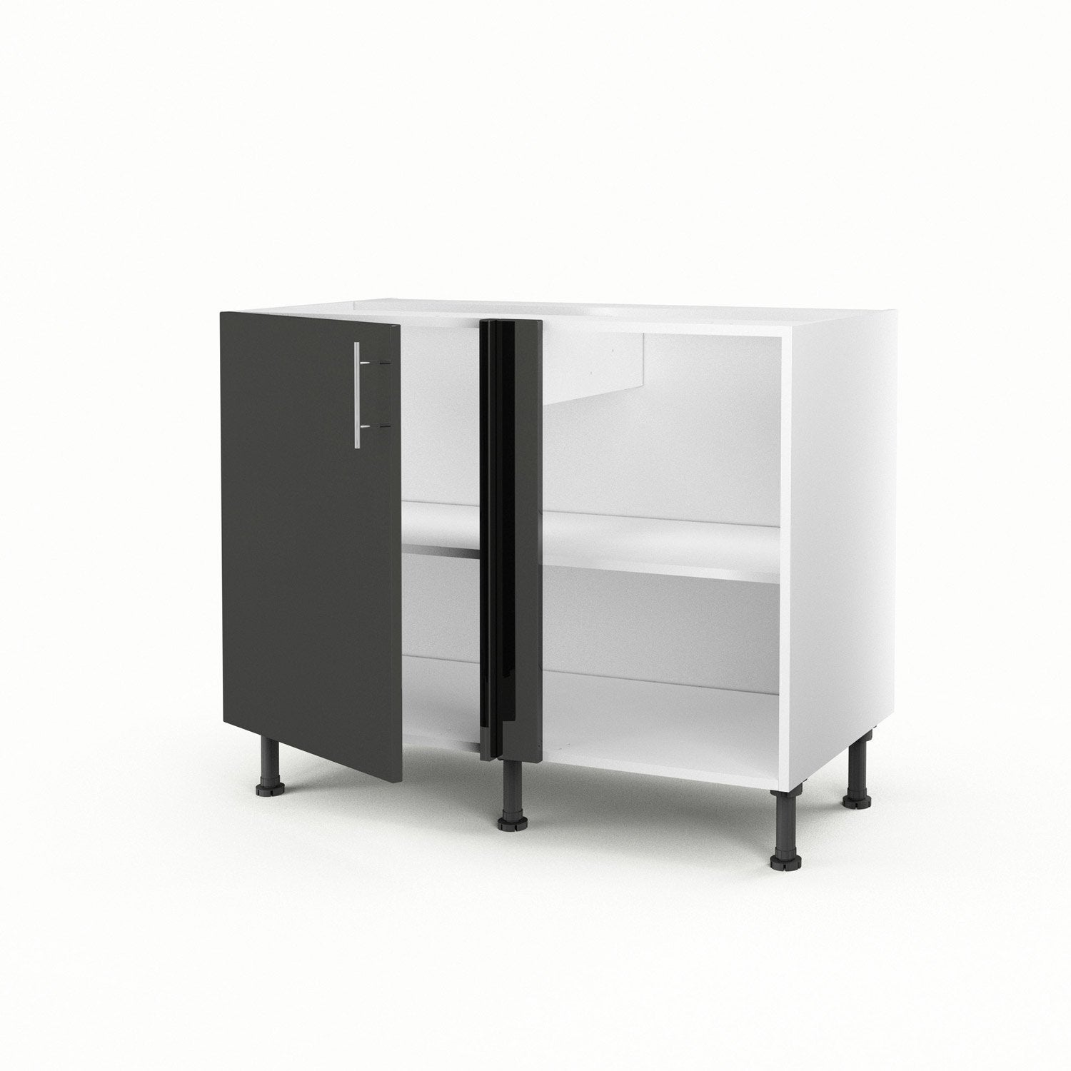 meuble de cuisine bas d 39 angle gris 1 porte rio x l. Black Bedroom Furniture Sets. Home Design Ideas