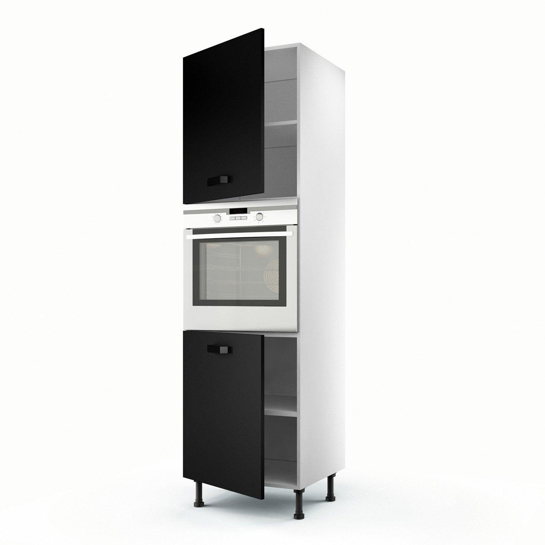 meuble de cuisine colonne noir 2 portes mat edition. Black Bedroom Furniture Sets. Home Design Ideas