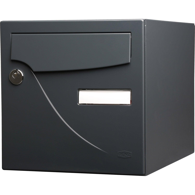 Bo te aux lettres normalis e la poste 1 porte renz essentiel en acier gris - Leroy merlin boite aux lettres ...