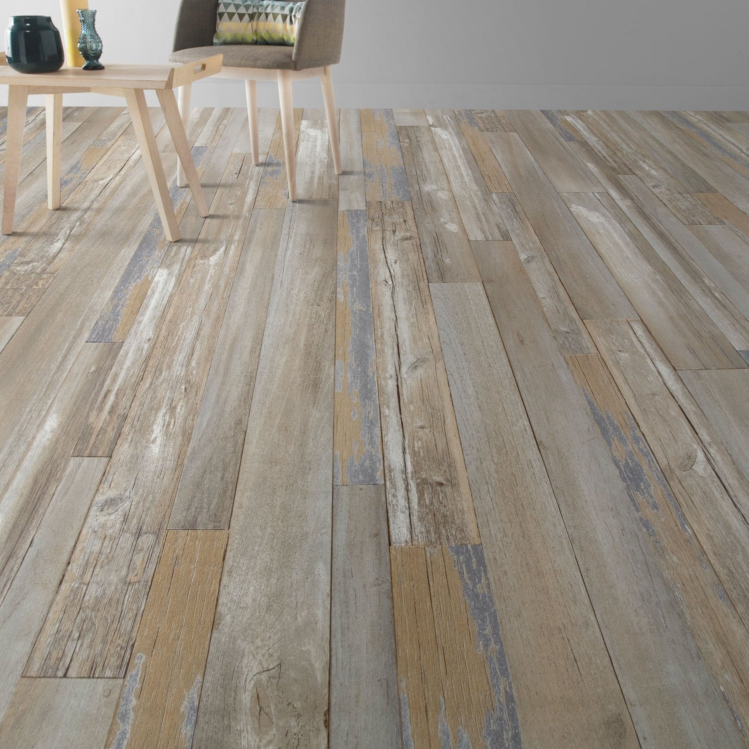 Lame pvc clipsable multicolore harbor blue senso lock gerflor leroy merlin - Lame parquet autocollant ...