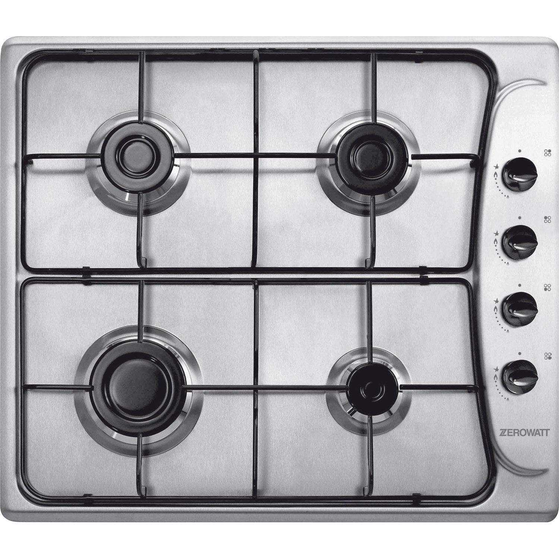 Plaque de cuisson gaz 4 foyers inox candy zpl46sx leroy merlin - Plaque de cuisson four ...