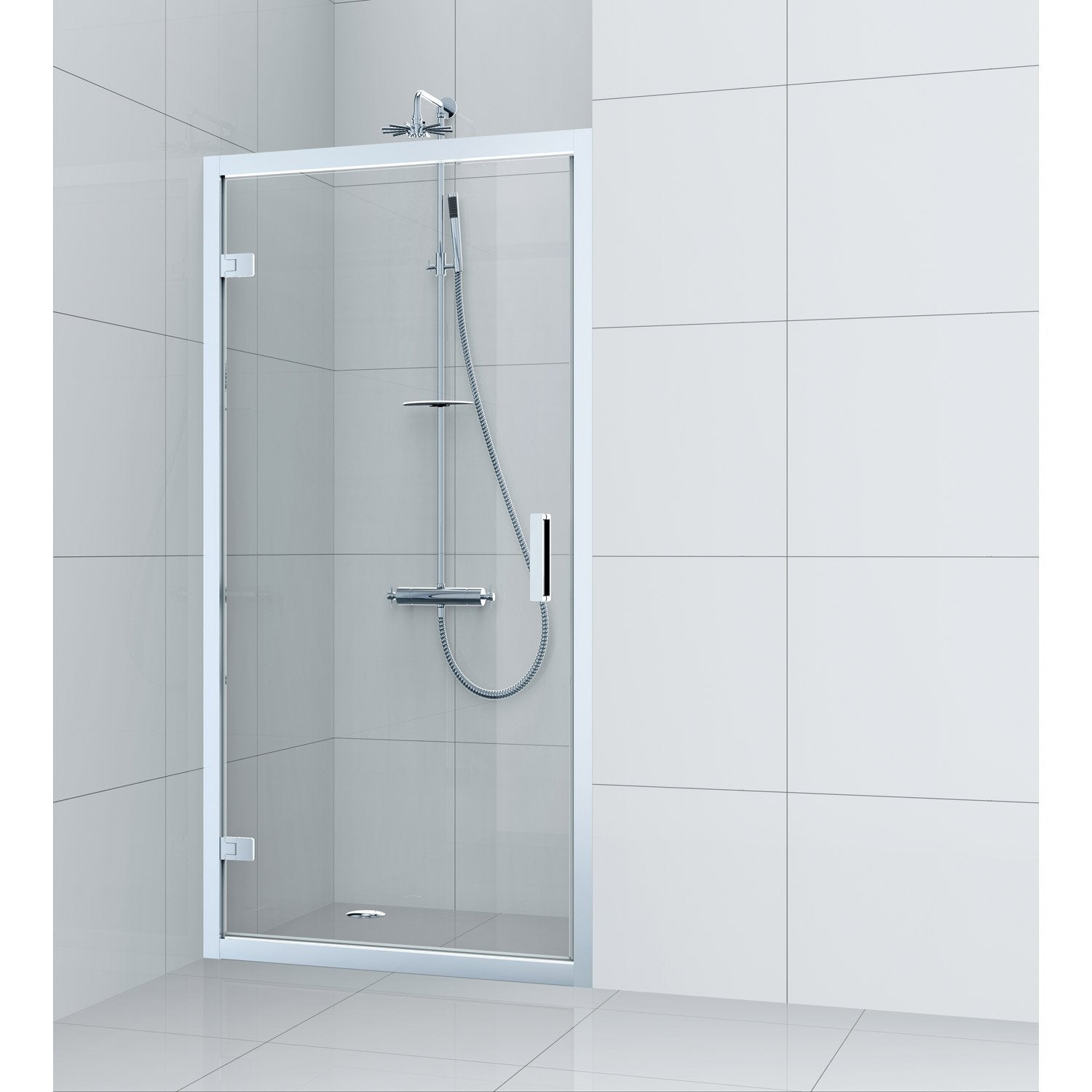 Porte de douche pivotante 100 cm transparent charm for Douche chez leroy merlin
