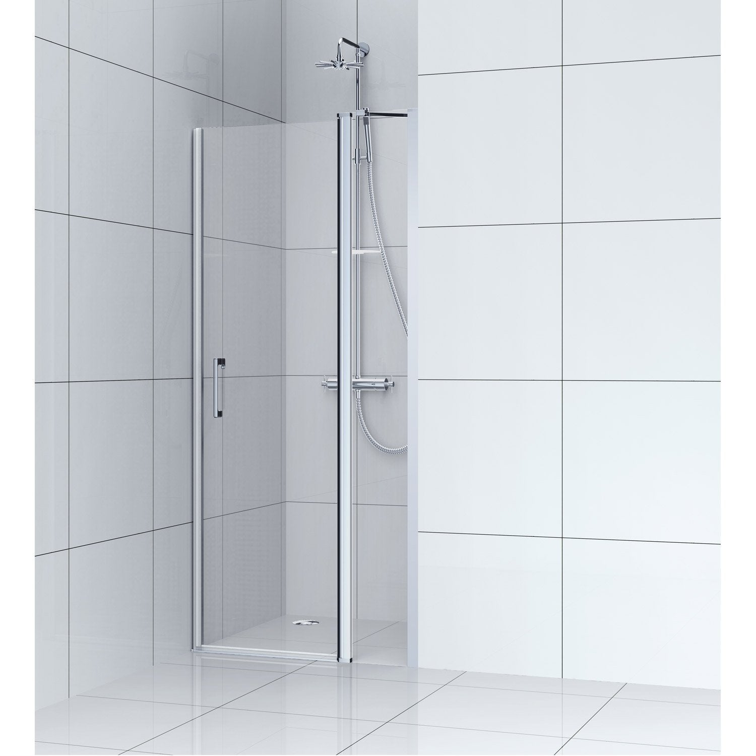 Porte de douche pivotante 90 cm transparent remix for Porte de douche pivotant 90