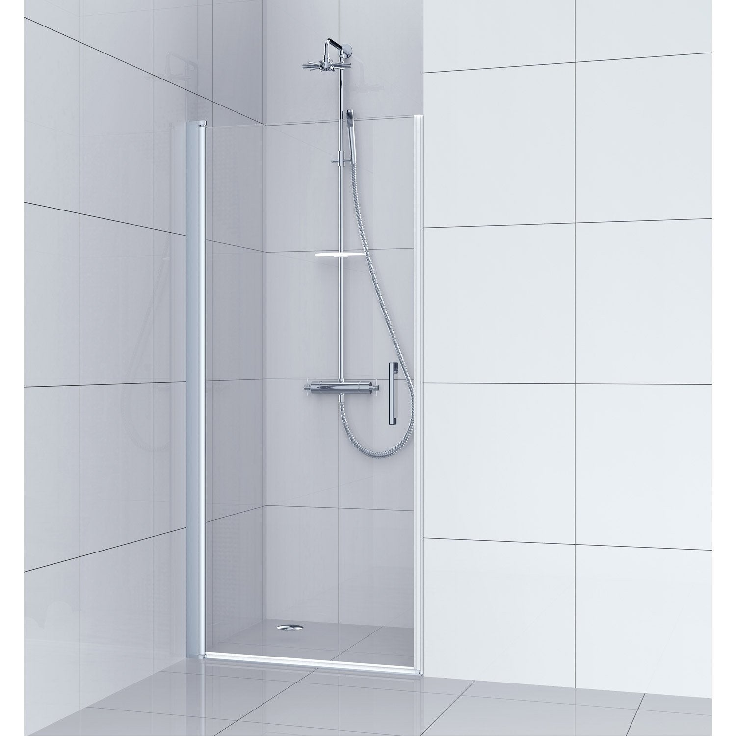 Porte de douche pivotante 100 cm transparent remix for Porte de douche leroy merlin