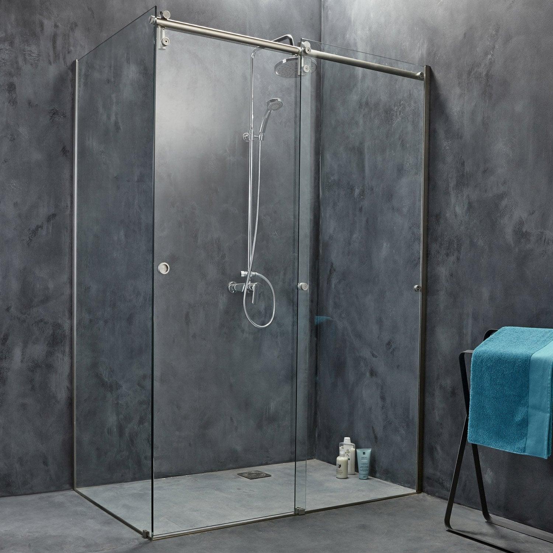 Porte de douche coulissante 119 cm transparent ellipse 2 - Porte de douche italienne ...