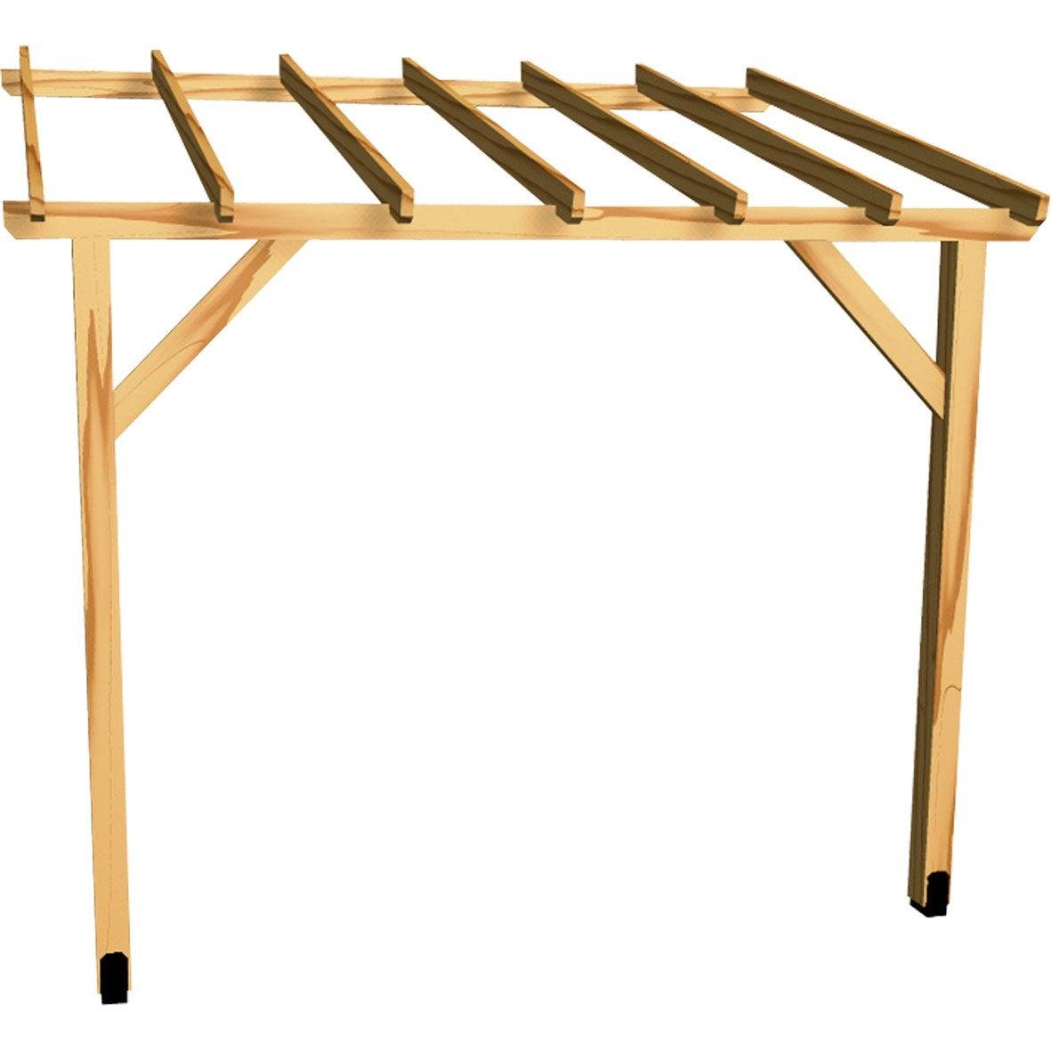 Appenti en bois traité AUVENT 1 pan, 6 m²  Leroy Merlin
