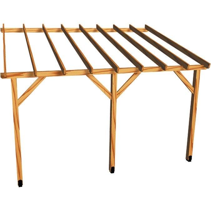 Appenti en bois traité AUVENT 1 pan, 12 m²  Leroy Merlin