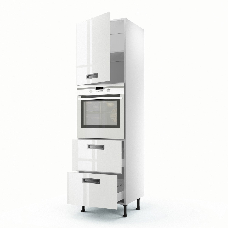 Meuble de cuisine colonne blanc 1 porte 2 tiroirs play x x cm leroy merlin - Colonne cuisine leroy merlin ...