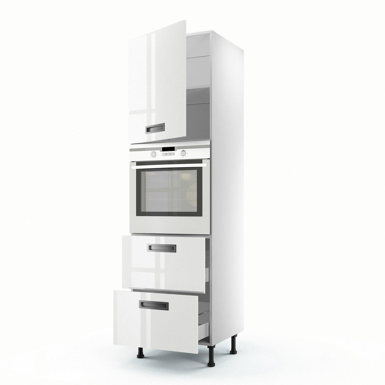 meuble de cuisine colonne blanc 1 porte 2 tiroirs play x x cm leroy merlin. Black Bedroom Furniture Sets. Home Design Ideas