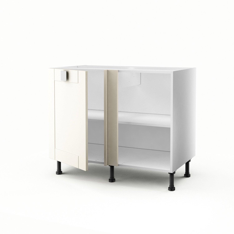 Meuble de cuisine bas d 39 angle ivoire 1 porte karrey h70xl100xp56 cm le - Meuble angle cuisine leroy merlin ...