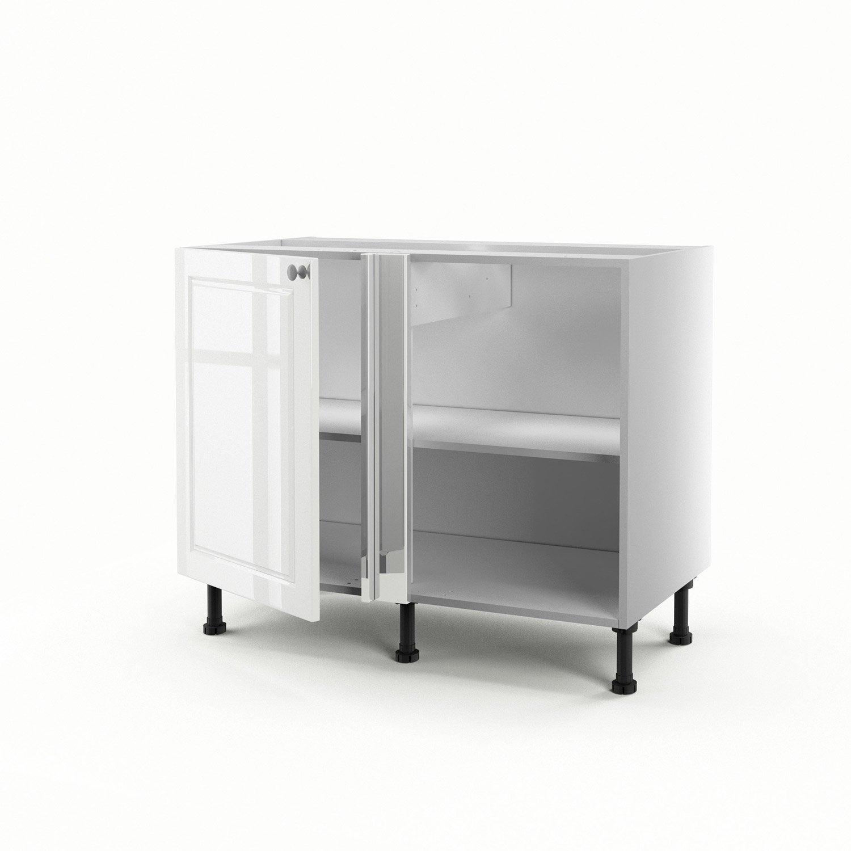 Meuble de cuisine bas d 39 angle blanc 1 porte chelsea h70xl100xp56 cm le - Meuble d angle leroy merlin ...