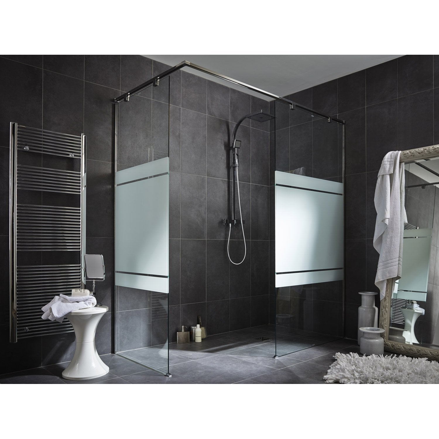 paroi de douche l 39 italienne cm verre s rigraphi 8 mm eliseo espace leroy merlin. Black Bedroom Furniture Sets. Home Design Ideas