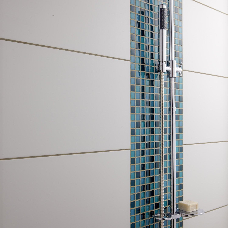 Fa ence mur blanc brillant rubix x cm leroy for Faience salle de bain blanc brillant