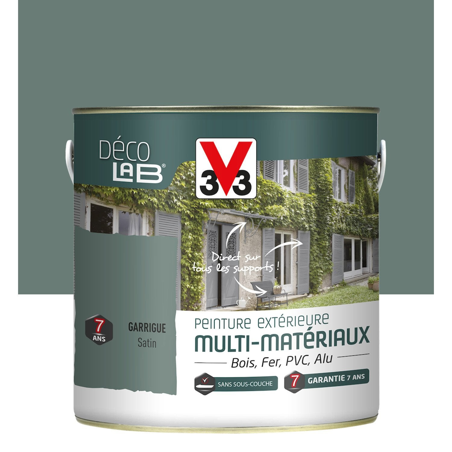 Peinture multimat riau ext rieur v33 garrigue 2 l leroy merlin for Peinture mur leroy merlin