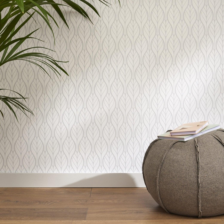 papier peint intiss feuille art deco gris et blanc leroy merlin. Black Bedroom Furniture Sets. Home Design Ideas