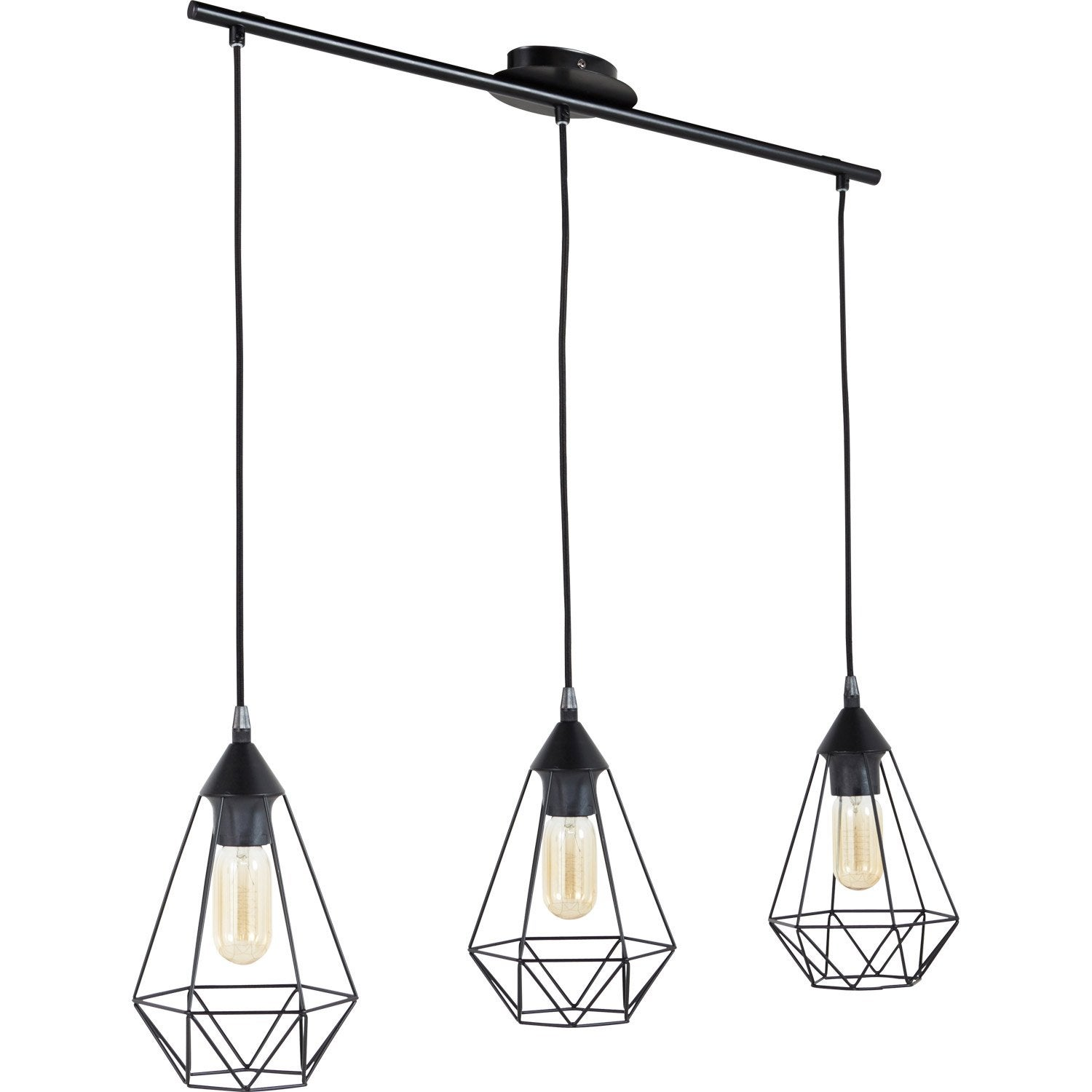 Suspension e27 style industriel byron d17 5 m tal noir 3 for Leroy merlin luminaire