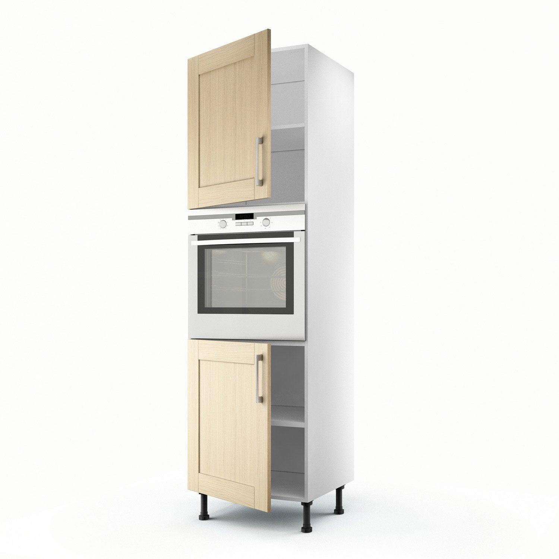 Meuble de cuisine colonne ch ne clair 2 portes cyclone h for Colonne cuisine 40 cm