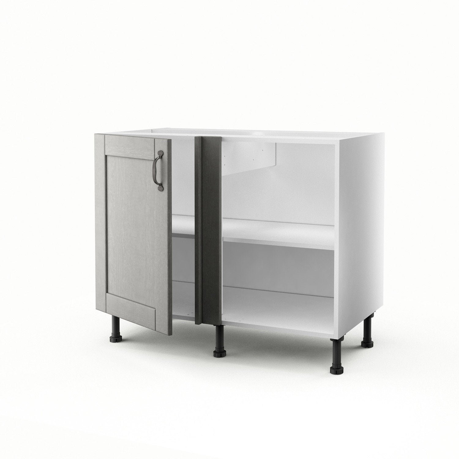meuble de cuisine bas d 39 angle gris 1 porte nuage x x cm leroy merlin. Black Bedroom Furniture Sets. Home Design Ideas