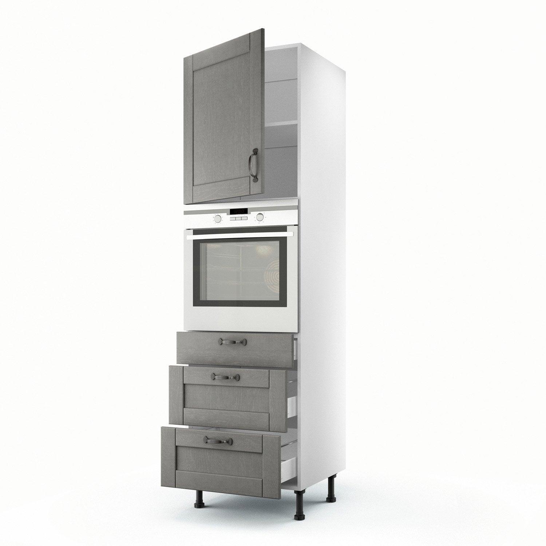 Meuble de cuisine colonne gris 1 porte 3 tiroirs nuage h - Meuble colonne leroy merlin ...