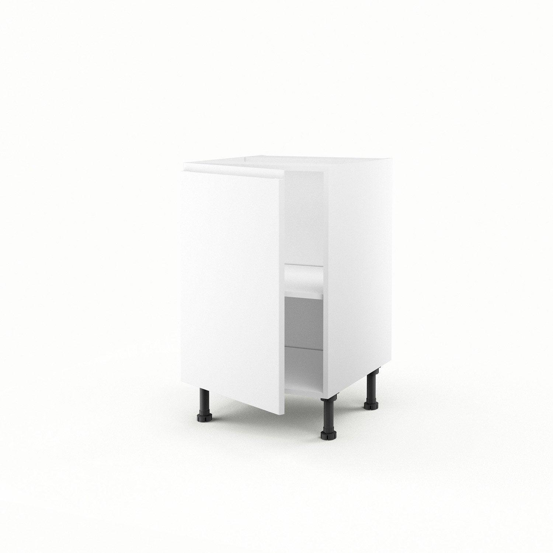 Meuble de cuisine bas blanc 1 porte graphic h70xl50xp56 for Bas de porte leroy merlin
