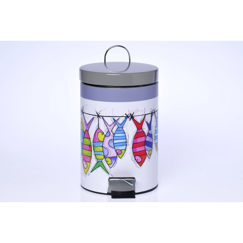Poubelle de salle de bains 3L multicolore  Leroy Merlin