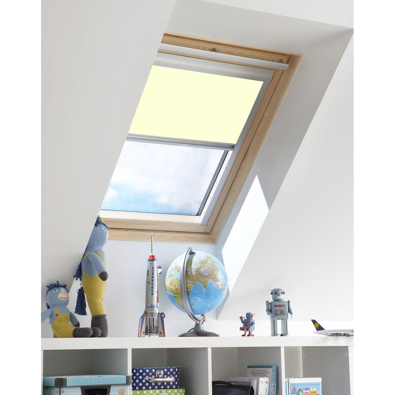 Store occultant inspire blanc ivoire pour fen tre de toit for Store occultant pour fenetre pvc leroy merlin