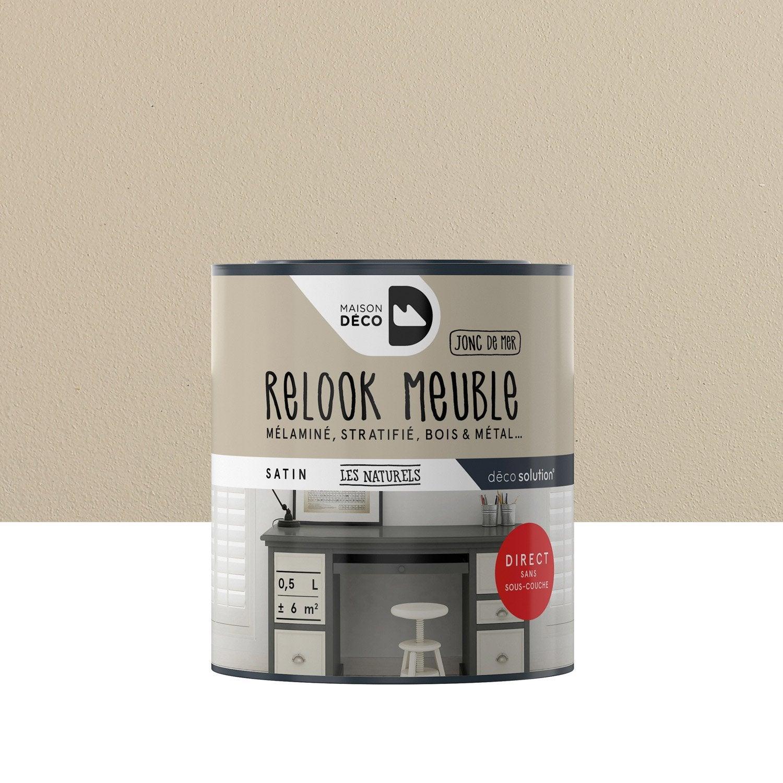 Peinture pour meuble relook meuble maison deco beige 0 5 l leroy merlin for Peinture beige leroy merlin
